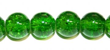 85pcs x 10mm Dark green glass crackled beads -- 3005043